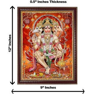 3d colourful panchmukhi hanumanji silver wall painting( size 09*12)