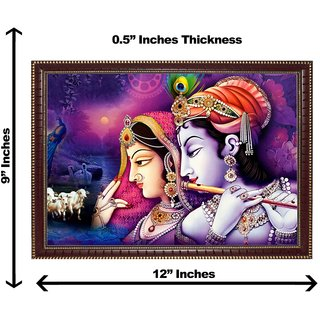 3d krishna radha with cow wall painting( size 09*12)