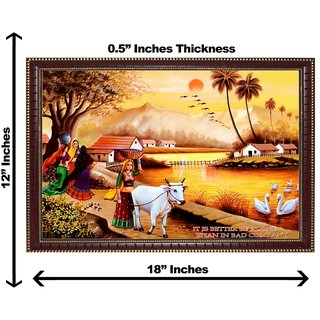 3d village women wall painting( size 12*18)