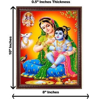 3d colourful krishna yashoda maa with vishnuji wall painting( size 08*10)