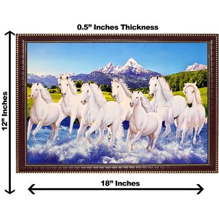 3d vastu 7 white horse wall painting( size 12*18)