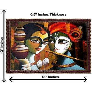 3d krishnaji radhaji with matki wall painting( size 12*18)