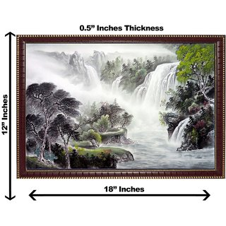 3d vastu water falling tree wall painting( size 12*18)