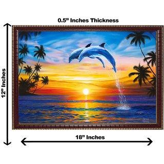 3d vastu beautiful dolphin wall painting( size 12*18)