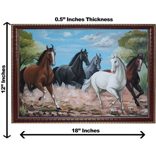 3d vastu five horse wall painting( size 12*18)