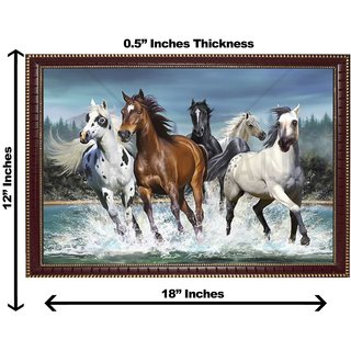 3d vastu  horse water running wall painting( size 12*18)