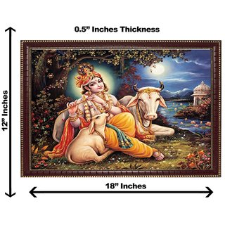 3d krishna with cow wall painting( size 12*18).