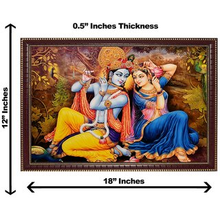 3d krishna radha peacock wall painting( size 12*18)