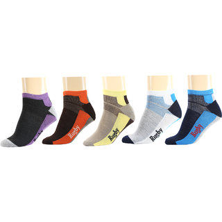Maroon Multicolour Cotton Set of 5 Men Ankle Socks
