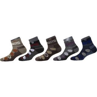 Maroon Multicolour Cotton Set of 5 Men's Ankle Length Socks