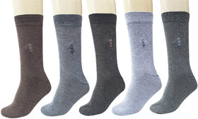 Maroon Multicolor Cotton Full Length Casual Socks For Mens Pack of 5