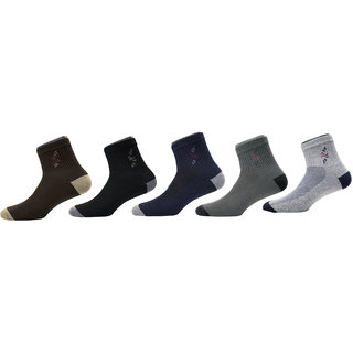 Maroon Multicolour Cotton Set of 5 Men's Ankle Length Socks