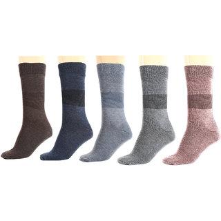 Maroon Multicolour Cotton Set of 5 Men's Full Length Socks