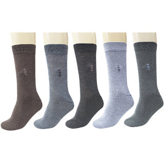 Maroon Multicolour Cotton Set Of 5 Men's Full Length Socks
