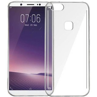 For VIVO V7 Plus - Clear Transparent Silicone Rubber Soft Back Cover Case