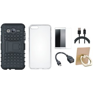 Vivo Y55L Defender Tough Hybrid Shockproof Cover with Ring Stand Holder, Silicon Back Cover, Tempered Glass, OTG Cable and USB Cable