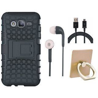 Vivo Y55s Shockproof Kick Stand Defender Back Cover with Ring Stand Holder, Earphones and USB Cable