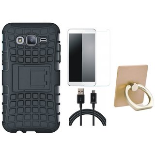 Vivo Y55s Shockproof Kick Stand Defender Back Cover with Ring Stand Holder, Tempered Glass and USB Cable