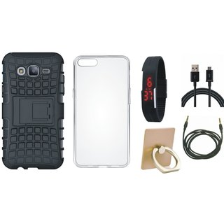 Oppo F3 Plus Defender Tough Hybrid Shockproof Cover with Ring Stand Holder, Silicon Back Cover, Digital Watch, USB Cable and AUX Cable
