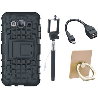 Vivo Y55s Shockproof Tough Armour Defender Case with Ring Stand Holder, Selfie Stick and OTG Cable