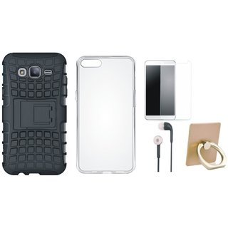 Oppo F3 Plus Defender Tough Hybrid Shockproof Cover with Ring Stand Holder, Silicon Back Cover, Tempered Glass and Earphones