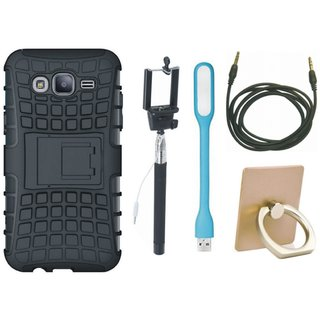 Vivo Y55s Shockproof Tough Armour Defender Case with Ring Stand Holder, Selfie Stick, USB LED Light and AUX Cable