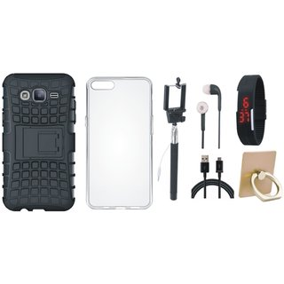 Oppo F3 Shockproof Tough Defender Cover with Ring Stand Holder, Silicon Back Cover, Selfie Stick, Digtal Watch, Earphones and USB Cable