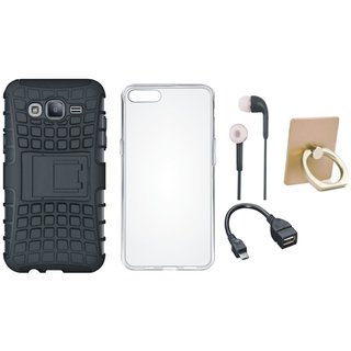 Oppo F3 Plus Defender Tough Hybrid Shockproof Cover with Ring Stand Holder, Silicon Back Cover, Earphones and OTG Cable