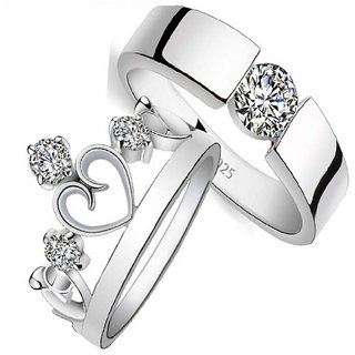 SILVERISH 92.5 Silver Couple Band Rhodium Plated Silver Ring Set SIVCB159-P