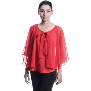 Timbre Red Plain Round Neck Asymmetrical Tops For Women