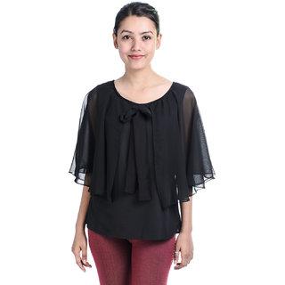 Timbre Black Plain Round Neck Asymmetrical Tops For Women