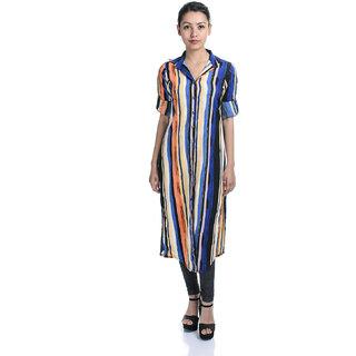 Timbre Multicolor Plain Round Neck Tunics For Women