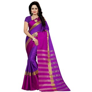 Women Purple Cotton Sari With Blouse