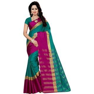 Women Green Cotton Sari With Blouse