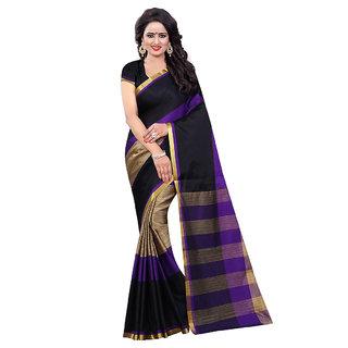 Women Black Cotton Sari With Blouse