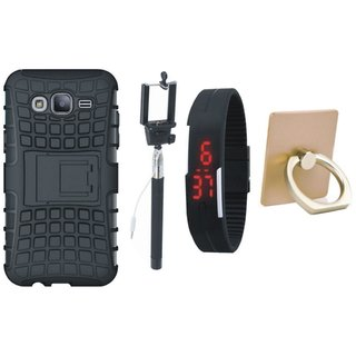 Samsung J7 2016 Version SM-J710 Shockproof Kick Stand Defender Back Cover with Ring Stand Holder, Selfie Stick and Digtal Watch