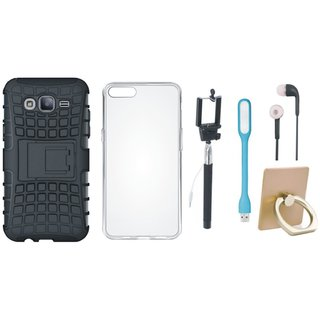 Samsung J7 2016 Version SM-J710 Shockproof Tough Armour Defender Case with Ring Stand Holder, Silicon Back Cover, Selfie Stick, Earphones and USB LED Light