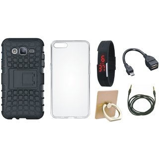 Samsung J7 2016 Version SM-J710 Shockproof Tough Defender Cover with Ring Stand Holder, Silicon Back Cover, Digital Watch, OTG Cable and AUX Cable