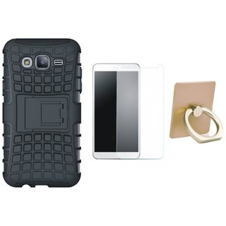 K6 Note Shockproof Kick Stand Defender Back Cover with Ring Stand Holder, Tempered Glass