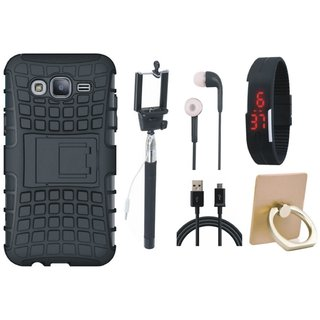 Samsung J7 2016 Version SM-J710 Shockproof Tough Armour Defender Case with Ring Stand Holder, Selfie Stick, Digtal Watch, Earphones and USB Cable