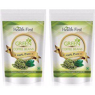 Health First Green Coffee Beans Decaffeinated  Unroasted Arabica Beans For Weight Loss Contains Chlorogenic Acid 400 g