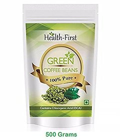 Health First Green Coffee Beans Decaffeinated  Unroasted Arabica Beans For Weight Loss Contains Chlorogenic Acid (500 g