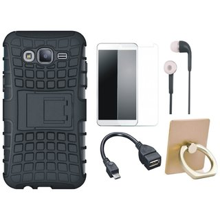 Oppo F5 Shockproof Tough Armour Defender Case with Ring Stand Holder, Tempered Glass, Earphones and OTG Cable
