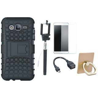 Samsung J7 2016 Version SM-J710 Defender Back Cover with Kick Stand with Ring Stand Holder, Free Selfie Stick, Tempered Glass and OTG Cable