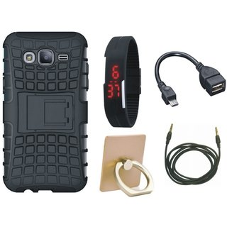 Oppo F5 Shockproof Tough Armour Defender Case with Ring Stand Holder, Digital Watch, OTG Cable and AUX Cable