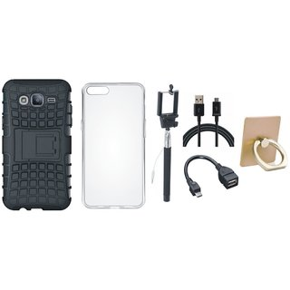 Oppo F5 Shockproof Tough Armour Defender Case with Ring Stand Holder, Silicon Back Cover, Selfie Stick, OTG Cable and USB Cable