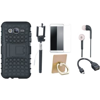 Samsung J7 Prime Shockproof Tough Armour Defender Case with Ring Stand Holder, Free Selfie Stick, Tempered Glass, Earphones and OTG Cable