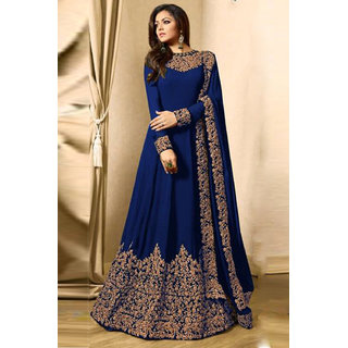 Salwar Soul Women's Drashti Dhami Faux Georgette Anarkali Suit In Blue Colour