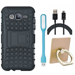 Vivo Y69 Shockproof Tough Defender Cover with Ring Stand Holder, USB LED Light and USB Cable