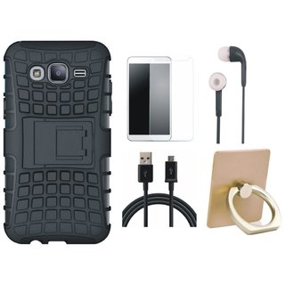 Samsung J7 Pro Defender Tough Armour Shockproof Cover with Ring Stand Holder, Earphones, Tempered Glass and USB Cable